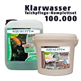 AQUALITY Klarwasser Teichpflege-Sparset 100.000 (GRATIS Lieferung innerhalb Deutschlands - Das perfekte Pflege-Set für einen schönen und klaren Gartenteich. Teichklärer + Wasserwerte Stabilisator - schnelle und nachhaltige Wirkung)