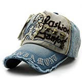 Kuyou Vintage Baseball Mütze Caps Distressed Sport Trucker Hat (Hellblau)