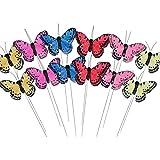 Púas de flores de mariposas con alas de pluma–Set de 12colores planta artificial diseño de mariposas y alambre de metal juego tallos–boda decoración