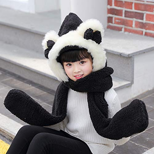 MINMINA Eltern-Kind-Schal-Kit Hut Schal Handschuhe dreiteilige koreanische Kinder-Schal-Set Mädchen warm Schal-Kit, schwarz, 3-10 Jahre alt