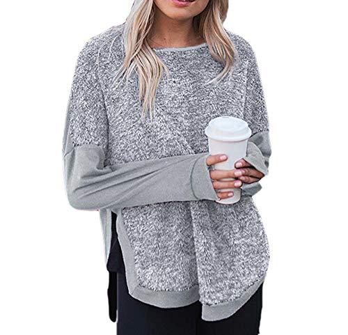 Huateng Frauen Cowl Neck Asymmetrische Hem Wrap Pullover Mantel Split Pullover Pullover Jumper -