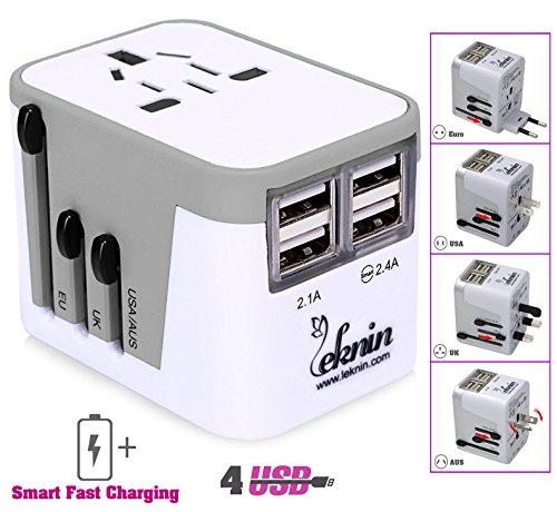 Universal Reiseadapter Ladegerät mit 4 USB - Leknin All in One Reisestecker für Weltweit Steckdosen US UK EU AU, Wechselspannung & Überspannungsschutz, 2 USB-Ports für schnelles Aufladen (Silber)
