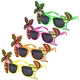 Set of 4 Novelty Tropical Hawaiian Beach Party Fancy Dress Glasses (Assorted Colours)