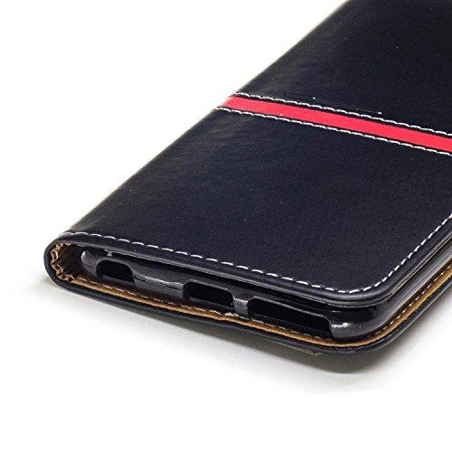 EKINHUI Case Cover IPhone 6 Plus Fall-Abdeckung, erstklassiger PU-lederner horizontaler Schlag-Standplatz-Fall mit Halter u. Wallet u. Karten-Schlitz u. Foto-Rahmen für Apple IPhone 6 plus 5.5 Zoll (  Black