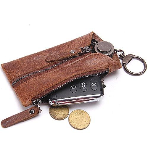 Contacts Echtes Leder-Reißverschluss-Münzen-Taschen-Geldbeutel -Auto-Schlüssel-Fall-Halter Schlüsselanhänger Beutel Braun (Leder-schlüssel-beutel)