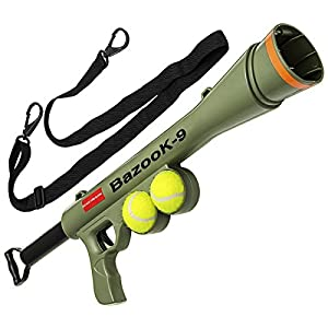 OxGord BazooK-9 Tennis Ball Launcher Gun - Rated Best Dog Toy - Includes 2 Squeaky Ball Toys for Pet Bazooka Semi Automatic Blast 15