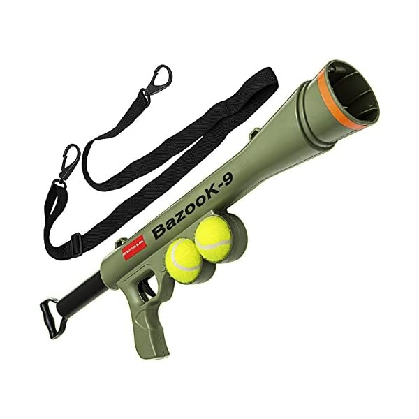 OxGord BazooK-9 Tennis Ball Launcher Gun - Rated Best Dog Toy - Includes 2 Squeaky Ball Toys for Pet Bazooka Semi Automatic Blast 1