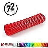 72Pcs Speichen Skins - Motocross Radabdeckungen, Dirt Bikes - 10 Farben ( Farbe : Rot )