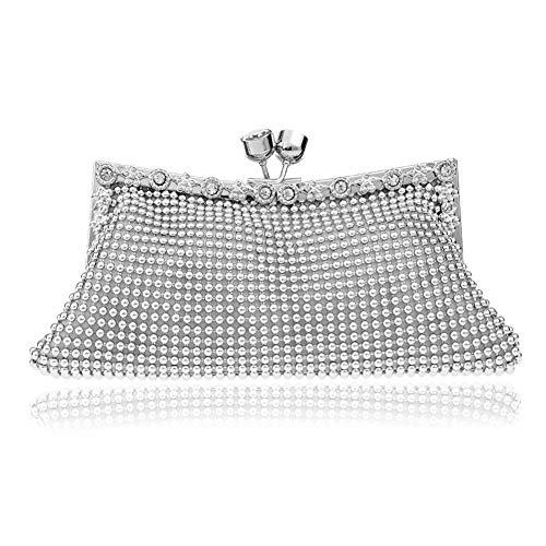 Metme Luxus Crossbody Bag Dual-Use Perlen Handtasche Abend Clutch Mode Geldbörse Braut Prom für Frauen -