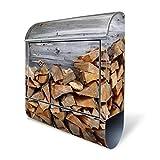 Design Briefkasten mit Zeitungsfach, Designer Motivbriefkasten mit Zeitungsrolle kaufen, für A4 Post, groß, bunt, Briefkastenschloss 2 Schlüssel, von banjado Motiv Feuerholz