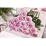 TININNA 5 pezzi rose artificiali rose mazzi per la festa decorazioni domestiche o Wedding Bianco Viola