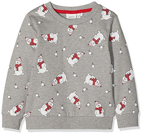 NAME IT Jungen NMNREIN LS BRU Sweat Box Sweatshirt, per Pack Mehrfarbig (Grey Melange Grey Melange), 110 (Herstellergröße: 110) -