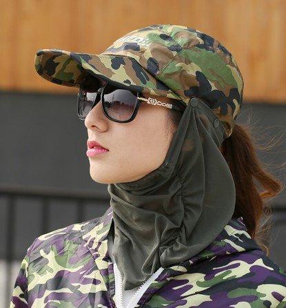 nsxbzz *Sun cap Sommer Kinder reiten Face Visor Outdoor Tour wild faltbar Schwarz Gesicht Hüte weiblich sind Code Camouflage army (Jugend Man Kostüm Green)