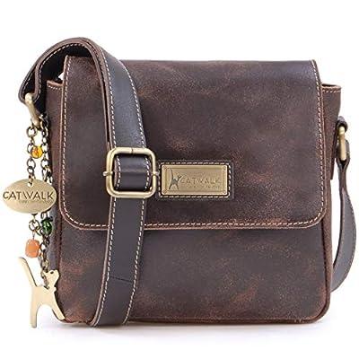 Catwalk Collection Handbags - Cuir Vintage Texture - Petit Sac Bandoulière/Besace/Sac Porté Croisé/Messenger pour iPhone/Kindle - Femme - SABINE S