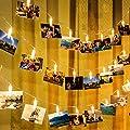 GIGALUMI LED Foto Lichterkette mit 20 LEDs Foto Clips 6 Meter Warmweiß Batteriebetrieben Fotolichter Kette für Bilder Karte Dekoration für Weihnachten, Valentinstag, Geburtstag usw.