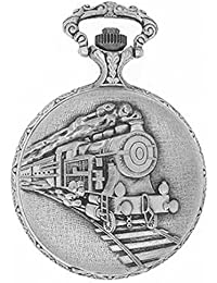 "Dice Pocket watch-C210"" Unisex Antique case Classic Vintage Rib Chain Quartz, Steel Gray Metallic Tone. Outer Body Shows Beautiful Embossed Train."