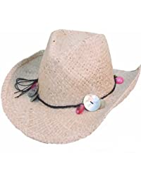 Girls Straw Cowgirl Hat with Shell Band.