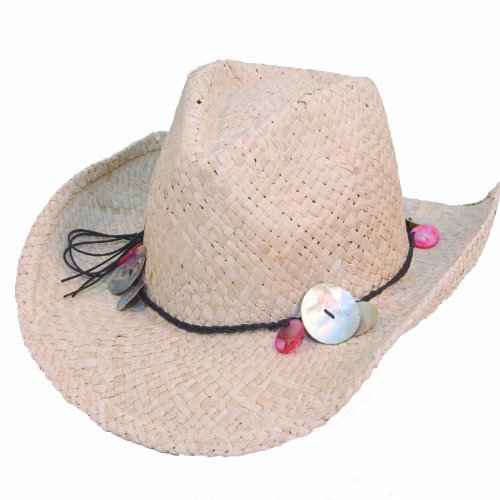 Girls Straw Cowgirl Hat with Shell Band. Test