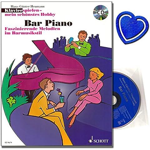 Bar Piano–Brani classici di musica Bar di George Gershwin, Fats Waller, Cole Porter, Bert kaemp Fert, Antonio Carlos Jobim–spartiti per Pianoforte con CD e colorata cuore note–Fermagli - Cuore Bar