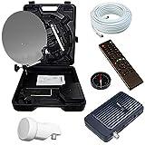 Bundle by netshop 25 Camping Sat Koffer 40cm Spiegel + HD Receiver (12V & 220V) + Single LNB + 10m Kabel