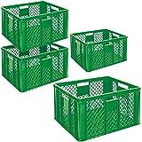 4x Eurobehälter durchbrochen, Stapelkorb, Industriequalität, lebensmittelecht, 600 x 400 x 320 mm, grün