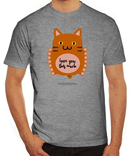 Geschenkidee Herren T-Shirt mit Love You This Much Motiv von ShirtStreet Graumeliert