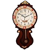 DIDADI Wall Clock Orologio da parete orologio muto continentale pastorale creativo soggiorno pendolo in legno antico quarzo parete 61.5 * 31 cm