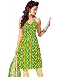 Lavis Women's Green & Yellow & cream Pure Cotton Dress Material