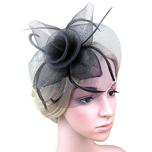 Vococal - Pinza de Pelo de Horquilla Decorativa / Tocado de Pelo Accesorios de Fiesta Boda para Mujer Damas Chicas (Estilo de Malla Floral,Negro)