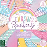 First Edition Premium Paper Pad 12'x12' Sheets (FSC) Chasing Rainbows-Blocco di Carta di Alta qualità, 30 x 30 cm, 48 Fogli, Multicolore, Multi Colour, 1