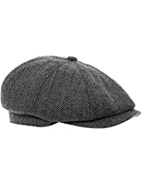 ee2a71f7e57 Black Grey Herringbone Newsboy 8 Panel Baker Boy Tweed Flat Cap Mens Gatsby  Hat
