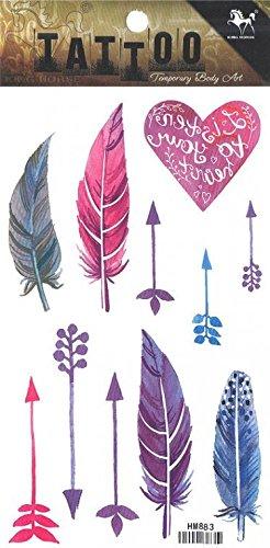 Grashine infine tatuaggi temporanei piume colorate e delle frecce assomigliano a di veri adesivi tatuaggio temporaneo
