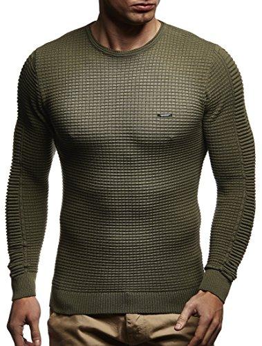 LEIF NELSON Herren Pullover Strickpullover Hoodie Basic Rundhals Crew Neck Sweatshirt longsleeve langarm Sweater Feinstrick LN1545; Gr_¤e M, Khaki
