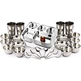 King International Stainless Steel Dinner Set Of 28 Pieces Including 4 Five Compartment Plate, 4 Glasses, 6 Bowls , 6 Dessert Bowls , 8 Spoon