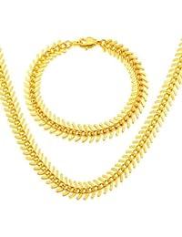 cadena de espina de pescado de Corea nueva moda conveniente para los hombres y mujeres de la joyería del oro 18k plateó el collar del