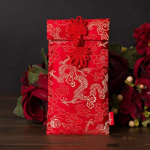 GOOTUOUOU - Sobre Chino Tradicional para Boda o Navidad, Color Rojo, dragón, 10 * 18cm