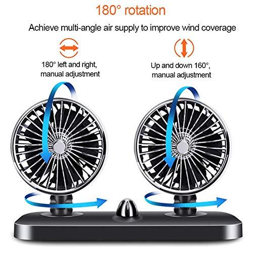 ERMIAN Auto Ventilator Doppellüfter Lüfter 12 V Auto Fan 2 Speed Verstellbar Starker Wind Gebläse Klimaanlage Fan tragbare elektrische Kompressor-Kühlbox/Gefrierbox -