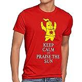 CottonCloud Keep Calm an Praise the Sun Herren T-Shirt Sunbro Solaire, Größe:S;Farbe:Rot