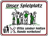 Schild Alu Unser Spielplatz Bitte sauber halten Hunde verboten! 300x400mm
