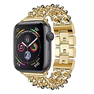 Wawer Apple Watch Series 4 Armband Mode Doppelreihige Cowboy Kette Metall Uhrenarmband Ersatz Bügel für Apple Watch Series 4 40mm / 44mm