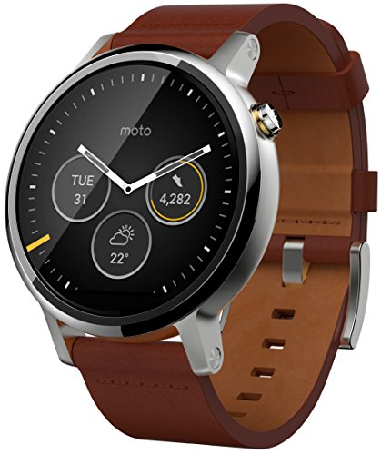 Motorola Moto 360 Mens Large Smartwatch and Heart Rate/Activity Tracker with Bluetooth Connectivity Compatible with iPhones and Android Smartphones - Cognac Leather