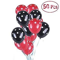 Idea Regalo - TOYANDONA 50Pcs 12 Pollici Nero e Rosso con Palloncini Bianchi a Pois per Decorazioni per Feste di Compleanno di Nozze