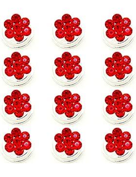 12 Stück Brautschmuck Abendschmuck Curlies Haarschmuck Hochzeit Haarnadeln Blumen Kristall Kristallsteinen Rot...