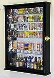 Black : Large Mirror Backed and 7 Glass Shelves Shot Glasses Display Case Holder Cabinet, Black