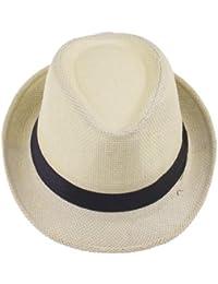 JTC Chapeau Unisexe de Paille Panama Feroda,Chapeau de Soleil en été/à la Plage/en PP Tresse,tour de la tête:56-58CM,6 couleurs