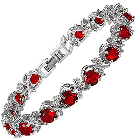 Jewellery Round Cut Red Ruby Gemstones Fine CZ 18K White gold Plated [18cm/7inch] Tennis Bracelet Simple Modern Elegance Prong Setting [Free Jewelry Pouch]