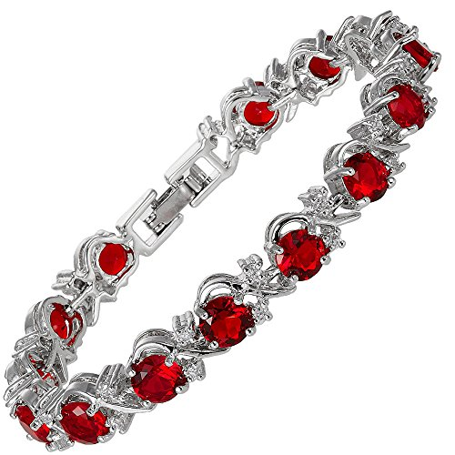 tennis ruby color tone ever bracelets heart faith roman slp cz red shaped gorgeous silver bracelet july birthstone amazon com