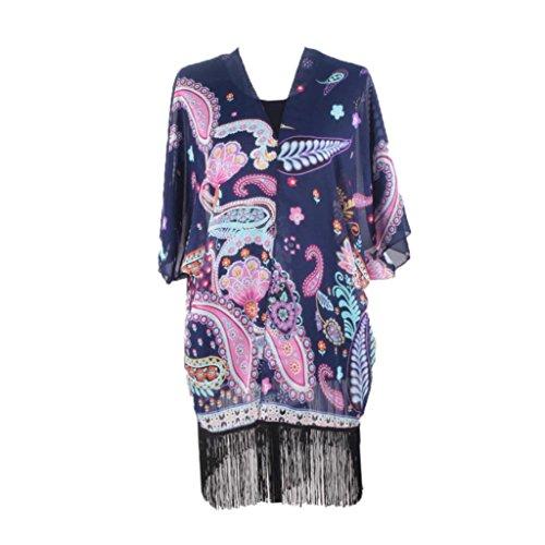 Clode® Femmes Boho en mousseline de soie lâche Shawl Cardigan Kimono Tops Cover up Blouse Marine