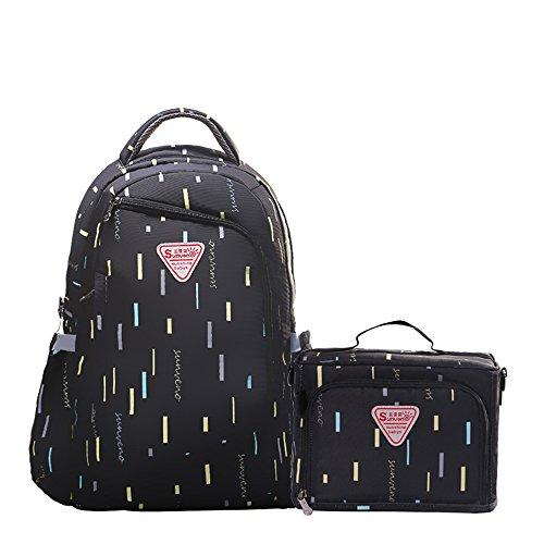 Sunveno 2pcs Wickelrucksack Wickeltasche Rucksack Mummy Reisen Rucksack Baby Windel Rucksack Mit Isolierte Tasche (schwarz) (Bookbag Wickeltasche Für Mädchen)