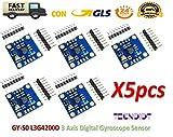 TECNOIOT 5pcs GY-50 L3G4200D 3 Axis Digital Gyroscope Sensor Module Angular Velocity